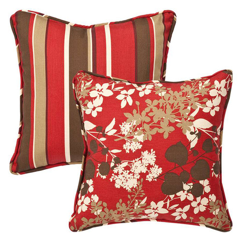 """Set of 2 Tropical Red Striped Square Reversible Throw Pillows 18.5"""" - IMAGE 1"""