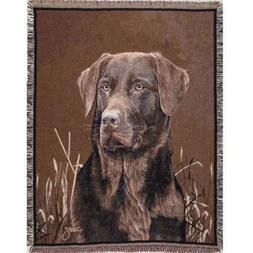 """Chocolate Lab Dog Face Portrait Tapestry Throw 50"""" x 70"""" - IMAGE 1"""