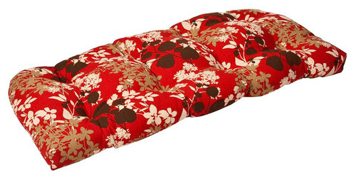 "44"" Tropical Red and White Floral Reversible Outdoor Patio Tufted Wicker Loveseat Cushion - IMAGE 1"