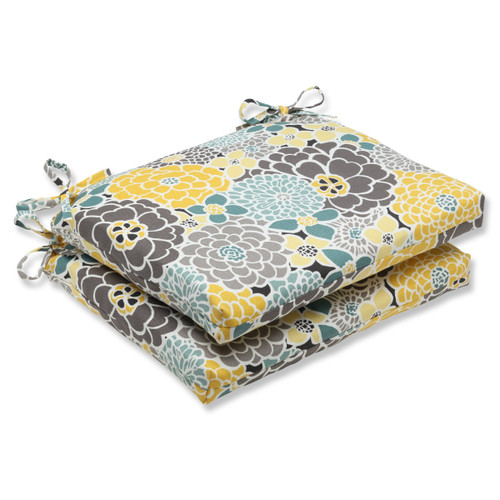 """Set of 2 Yellow, Blue and Gray Flor Grande Decorative Outdoor Patio Chair Cushions 18.5"""" - IMAGE 1"""