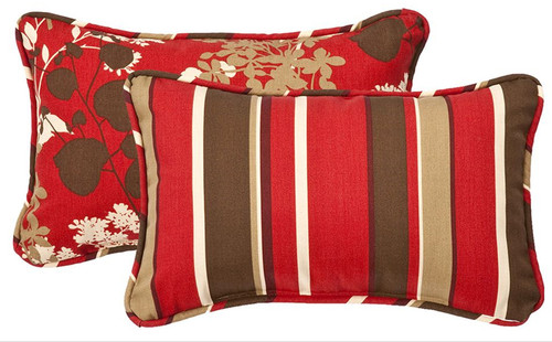 "Set of 2 Tropical Red Striped Rectangular Reversible Throw Pillows 18.5"" - IMAGE 1"