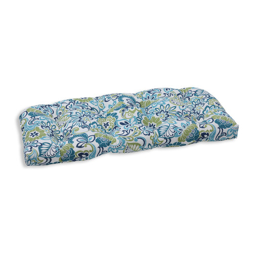 "44"" Green and Blue Floral Outdoor Patio Tufted Wicker Loveseat Cushion - IMAGE 1"