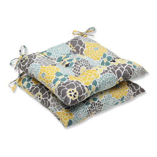 """Set of 2 Yellow and Gray Floral Grande Outdoor Patio Seat Chair Cushions 19"""" - IMAGE 1"""