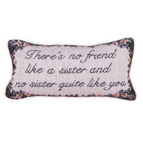 """Set of 2 Pink and Blue Sister Quote Design Decorative Rectangular Throw Pillows, 12"""" - IMAGE 1"""