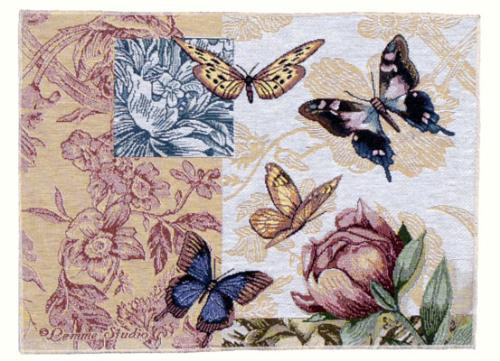 """Pack of 2 Floral Butterfly Decorative Tapestry Placemats 12"""" x 18"""" - IMAGE 1"""