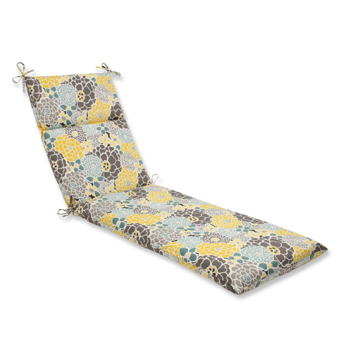 "72.5"" Yellow, Blue and Gray Flor Grande Decorative Outdoor Patio Chaise Lounge Cushion - IMAGE 1"