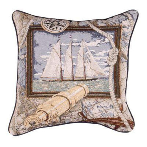 """17"""" Beige and Blue Sailing Boat Decorative Accent Square Throw Pillow - IMAGE 1"""