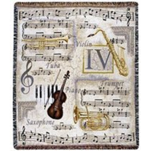 """Music to My Ears Violin Notes Trumpet Tapestry Throw Blanket 50"""" x 60"""" - IMAGE 1"""