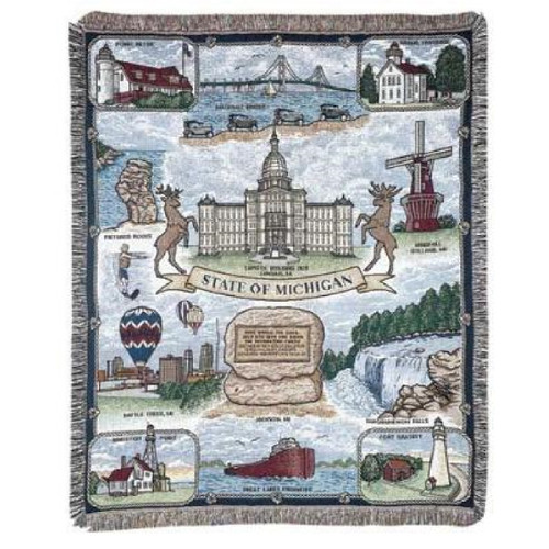 """Brown and Blue Rectangular Tapestry Throw Blanket with State of Michigan Design 50"""" x 60"""" - IMAGE 1"""
