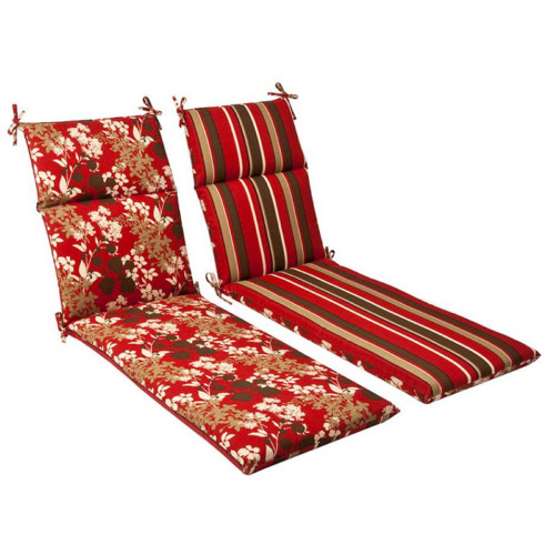 """72.5"""" Red and Brown Floral and Striped Reversible Outdoor Patio Furniture High Back Chair Cushion - IMAGE 1"""