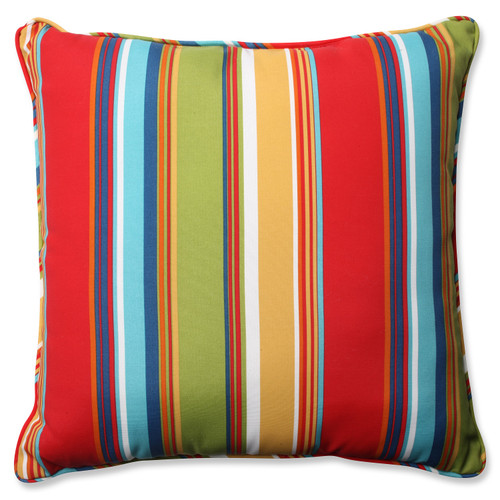 """25"""" Red and Blue Striped Outdoor Corded Square Floor Pillow - IMAGE 1"""