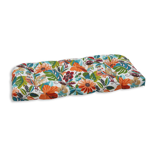 "44"" Orange and Blue Floral Outdoor Patio Tufted Wicker Loveseat Cushion - IMAGE 1"