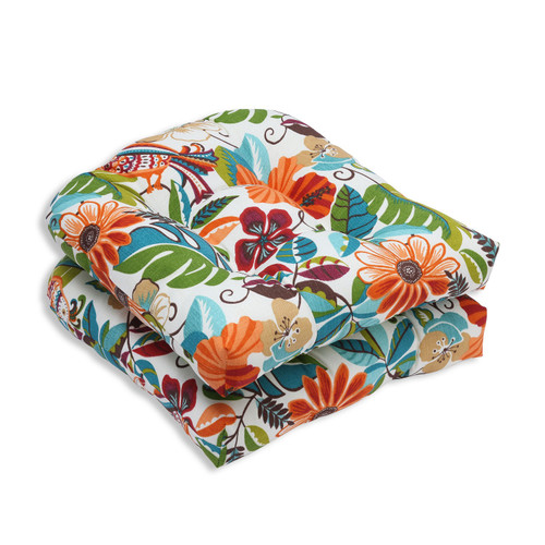 """Set of 2 Orange and Blue Floral Outdoor Patio Tufted Seat Cushions 19"""" - IMAGE 1"""