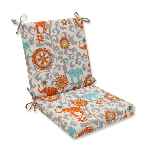 """36.5"""" Orange and Blue Outdoor Patio Chair Cushion - IMAGE 1"""