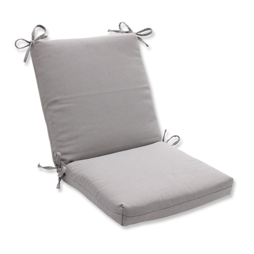 """18"""" x 36.5"""" Gray Reversible Outdoor Patio Chair Cushion with Ties - IMAGE 1"""