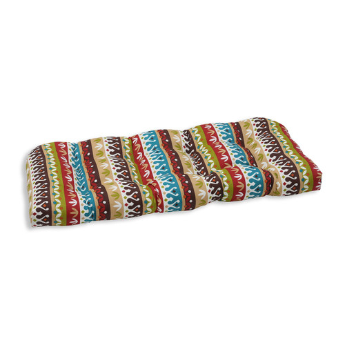 """44"""" Bohemian Striped Outdoor Patio Tufted Wicker Loveseat Cushion - IMAGE 1"""
