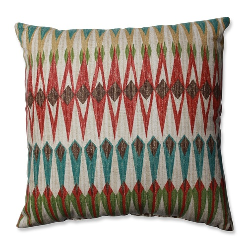 """16.5"""" Blue and Red Square Throw Indoor Pillow - IMAGE 1"""