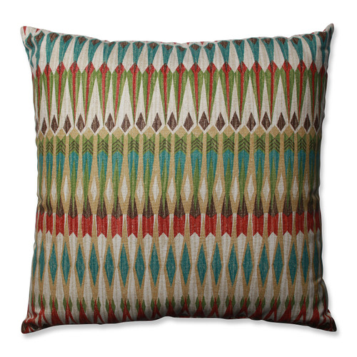 """24.5"""" Blue and Red Square Throw Indoor Pillow - IMAGE 1"""