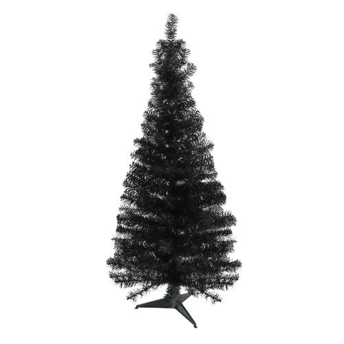 "4' x 24"" Slim Black Tinsel Artificial Christmas Tree - Unlit - IMAGE 1"