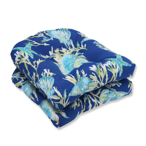 """Set of 2 Blue and Green Reversible Outdoor Patio Tufted Wicker Seat Cushions 19"""" - IMAGE 1"""