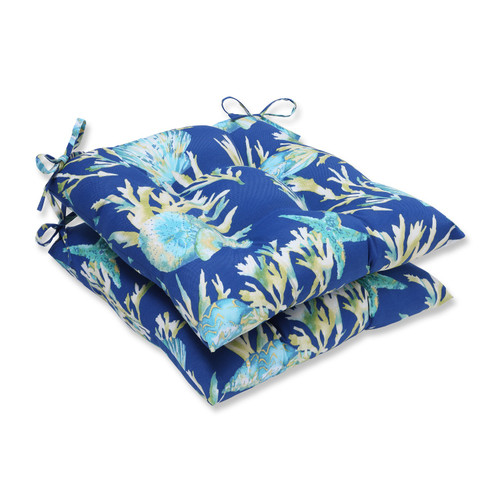 """Set of 2 Blue and Green Reversible Outdoor Patio Seat Cushion 19"""" x 19"""" - IMAGE 1"""
