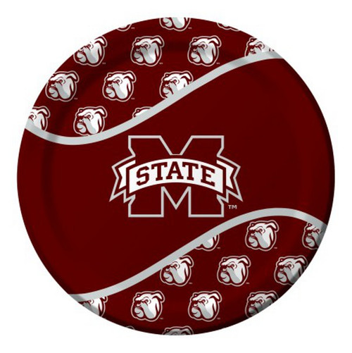 96 NCAA Mississippi State Bulldogs Round Tailgate Party Paper Dinner Plates - IMAGE 1