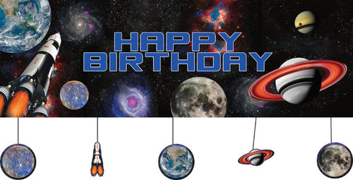 "Pack of 6 Blue and Black Space Blast Giant Flag Birthday Banners 60"" - IMAGE 1"