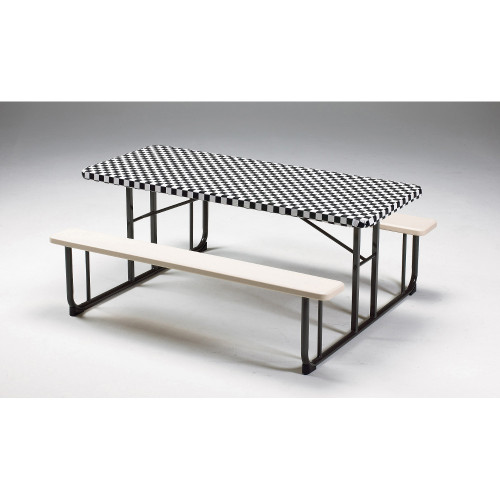 """Club Pack of 12 Black Checkered Stay Put Disposable Plastic Picnic Party Table Covers 96"""" - IMAGE 1"""