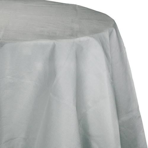 """Pack of 12 Silver Disposable Round Party Table Covers 82"""" - IMAGE 1"""