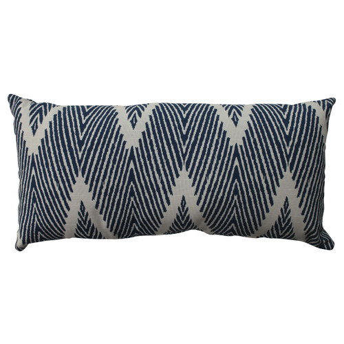"23"" Paulo Blue Zebra Zig Zag Chevron Decorative Rectangular Throw Pillow - IMAGE 1"