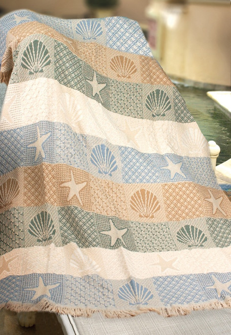 """White and Blue Contemporary Jacquard Woven Throw Blanket 46"""" x 60"""" - IMAGE 1"""
