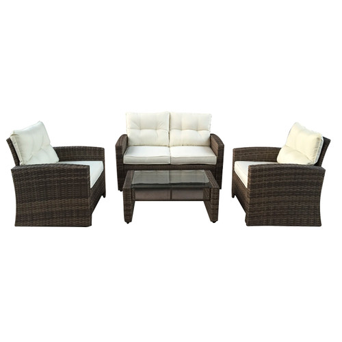 """4pc Brown and Beige Two-Tone Rattan Outdoor Patio Furniture Set with Cushions 50"""" - IMAGE 1"""
