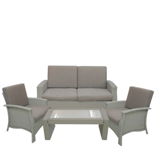 "4pc Gray Wicker Outdoor Patio Furniture Set 57.75"" - IMAGE 1"
