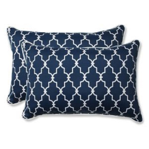 """Set of 2 Moroccan Gate Navy Blue and White Rectangular Corded Throw Pillows 24.5"""" - IMAGE 1"""