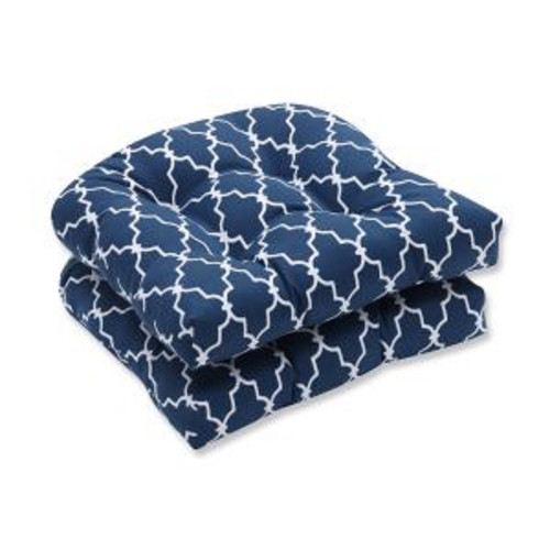 """Set of 2 Moroccan Gate Navy Blue and White Wicker Seat Cushion 19"""" - IMAGE 1"""