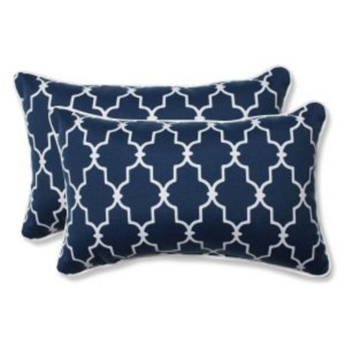 """Set of 2 Moroccan Gate Navy Blue and White Rectangular Corded Throw Pillows 18.5"""" - IMAGE 1"""