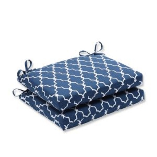"""Set of 2 Moroccan Gate Navy Blue and White Outdoor Patio Chair Seat Cushions with Ties 18.5"""" x 16"""" - IMAGE 1"""