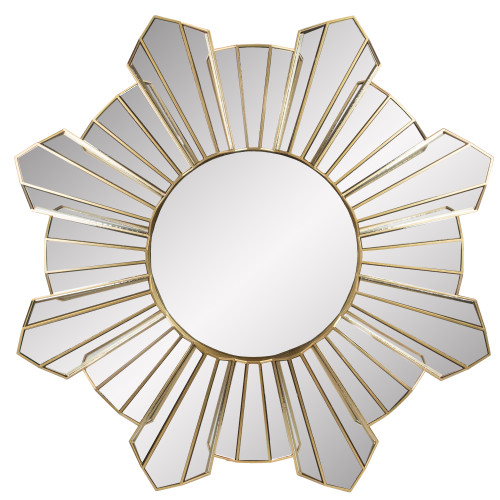 "25"" Gold and Silver Sunburst Wave Round Mirror Wall Decor - IMAGE 1"