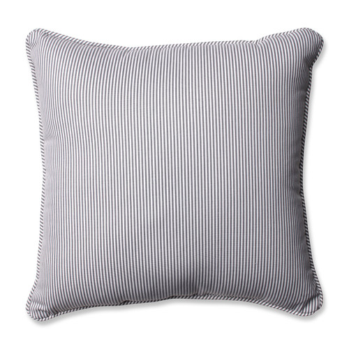 """16.5"""" Oxford Gray and White Contemporary Square Striped Throw Pillow - IMAGE 1"""