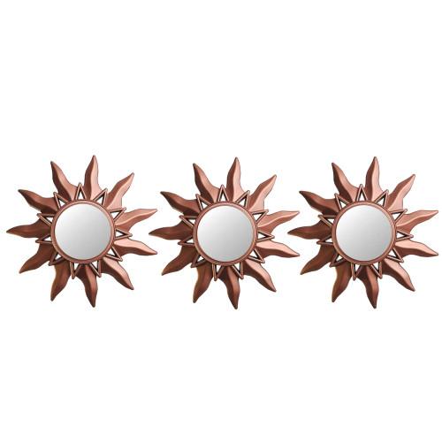 "Set of 3 Mayan Sunburst Matte Copper Round Mini Mirrors 9.5"" - IMAGE 1"