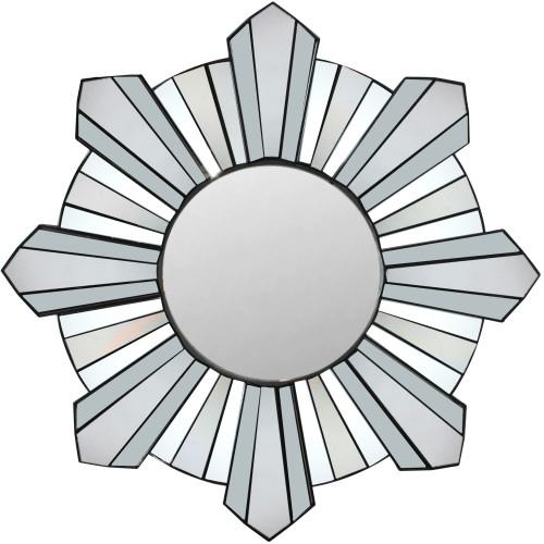 """25"""" Sparkling Sunburst Matte Black Round Wall Mirror - IMAGE 1"""