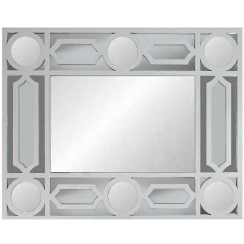 "29.5"" White Framed Geometric Openwork Rectangular Wall Mirror - IMAGE 1"