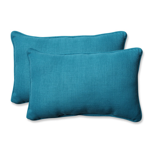 "Set of 2 Blue Caribbean Outdoor Patio Rectangular Throw Pillow 18.5"" - IMAGE 1"