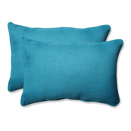 "Set of 2 Blue Caribbean Outdoor Patio Rectangular Throw Pillow 24.5"" - IMAGE 1"