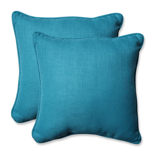 "Set of 2 Blue Caribbean Outdoor Patio Square Throw Pillows 18.5"" - IMAGE 1"