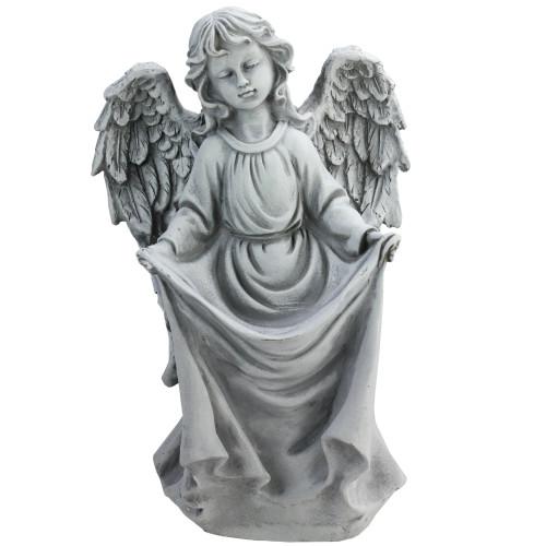 "16.5"" Gray Angel Decorative Outdoor Garden Bird Feeder Statue - IMAGE 1"