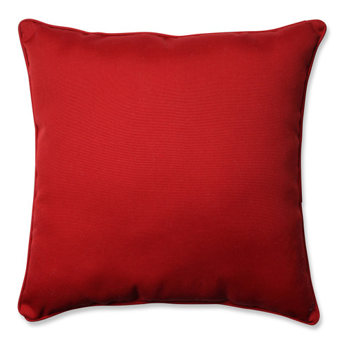 """25"""" Pompeii Red Contemporary Square Solid Outdoor Patio Floor Pillow - IMAGE 1"""