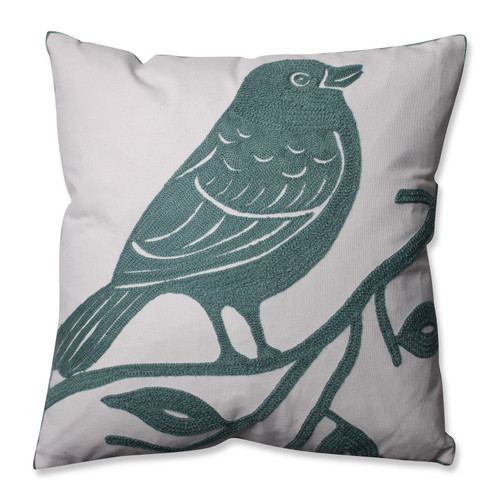 """16.5"""" Brown and White Bluebird Perched Square Throw Pillow - IMAGE 1"""