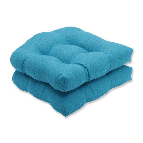"""Set of 2 Caribbean Summer Blue Outdoor Patio Tufted Seat Cushions 19"""" - IMAGE 1"""
