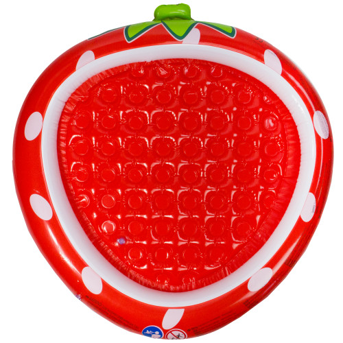 """37"""" Inflatable Red Strawberry With Green Stem Kiddie Swimming Pool - IMAGE 1"""